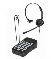 Headset telephone with monaural headset for work at home agents