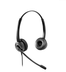 Binaural noise canceling headset with Plantronics QD