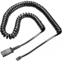 PLANTRONICS Polaris Cable 27190-01. 10' Coiled Cord QD To Modular Plug for most telephones
